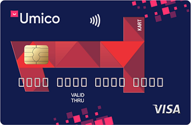 A debit card from Kapital Bank and Umico, which offers cashback for daily purchases.