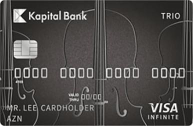 Visa kartlarının bütün imkanlarını özündə birləşdirən Visa Trio Infinite kartı VIP statusa malikdir.