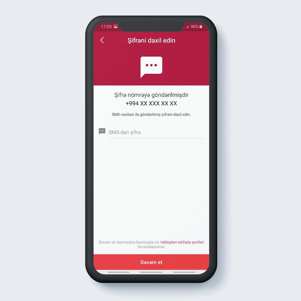 Qeyd olunan mobil nömrəyə göndərilmiş OTP (birdəfəlik şifrə) daxil edilir.