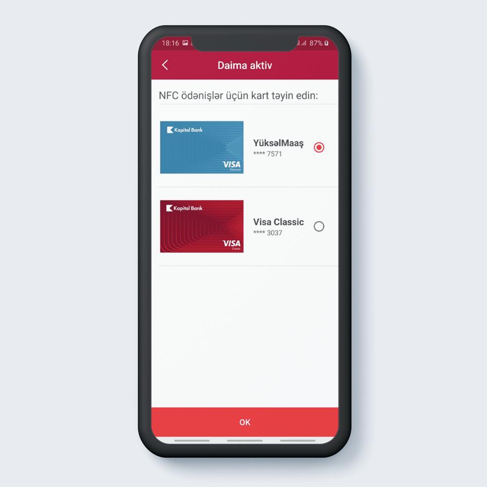 NFC pay üçün kart təyin edin. OK klikləyin.