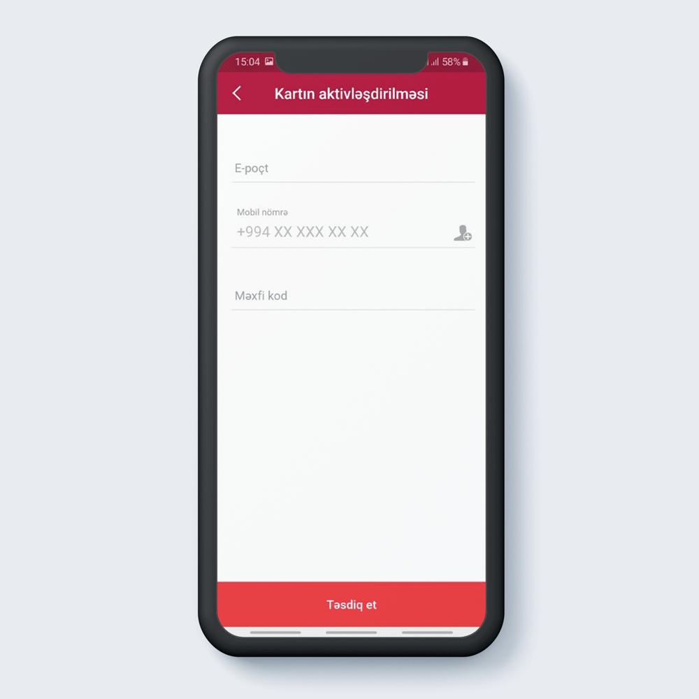 """E-poçt, mobil nömrə, məxfi kod yazıldıqdan sonra """"Təsdiq et"""" düyməsi sıxılır."""