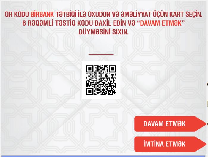 Vəsaiti nağdlaşdırmaq üçün BirBank tətbiqində QR kodu oxudun.